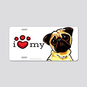 Love My Pug Aluminum License Plate